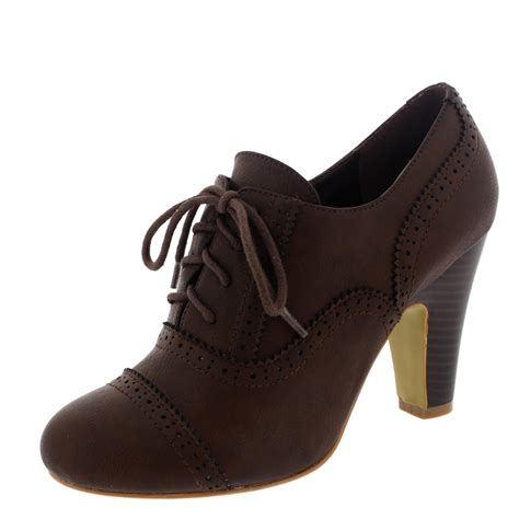 womens brogue lace up ankle boot cuban heels