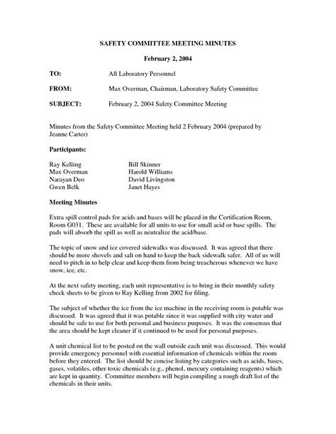 safety committee meeting template safety committee minutes form template images