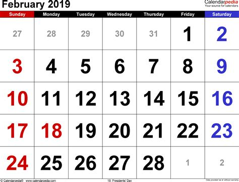 Calendar For 2019 February 2019 Calendars For Word Excel Pdf