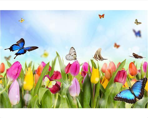 fiori con farfalle tulipani e farfalle fiori sta su tela