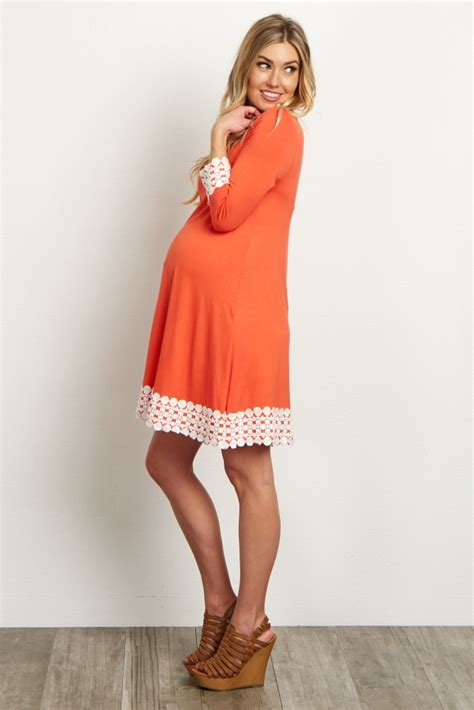 Sleeve Lace Maternity Dress coral lace trim 3 4 sleeve maternity dress