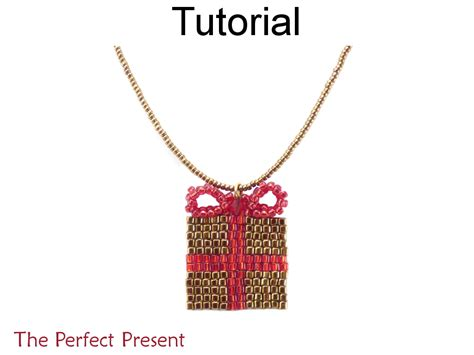 pattern present perfect beading tutorial pattern christmas present necklace