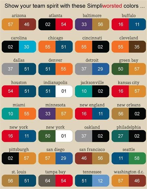 nfl football team color chart so find your city name get your sale yarn n knit some team