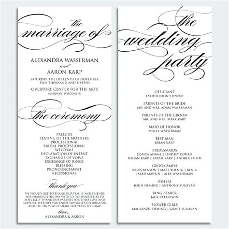 catholic wedding program templates free template catholic wedding program template