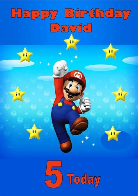 mario birthday card template personalised mario birthday card 2