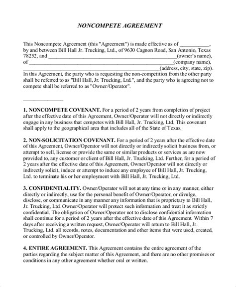 business  compete agreement templates  sample