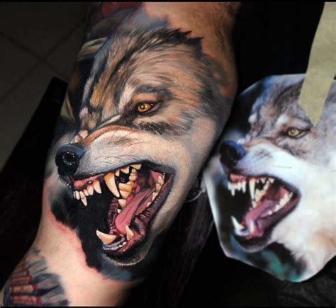 realistic angry wolf tattoo best tattoo ideas gallery