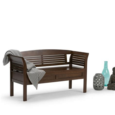brown storage bench simpli home arlington medium rustic brown storage bench