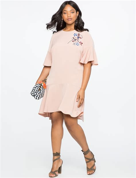 Sleeve Ruffle Hem Dress flare sleeve ruffle hem dress with applique s plus