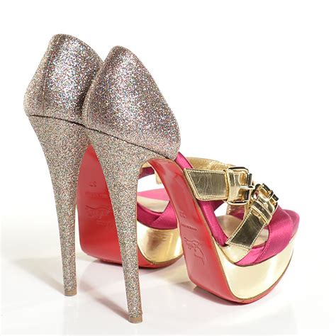 Christian Louboutins Metallic Gold Platforms by Christian Louboutin Metallic Calfskin Satin Glitter