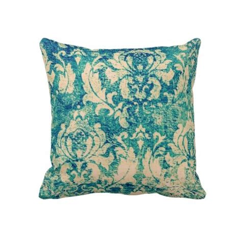 Blue And Green Pillows by Blue And Green Damask Throw Pillow Linens And Fabric