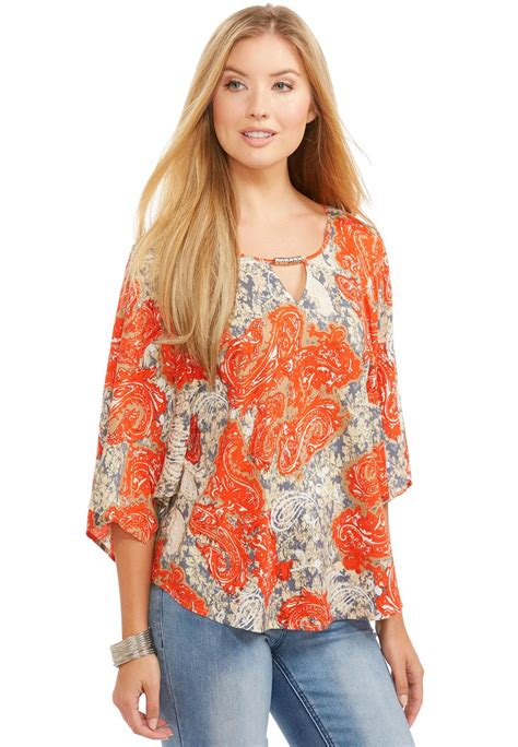 Sleeve Wing Printed Top printed wing sleeve poet top shirts blouses cato fashions