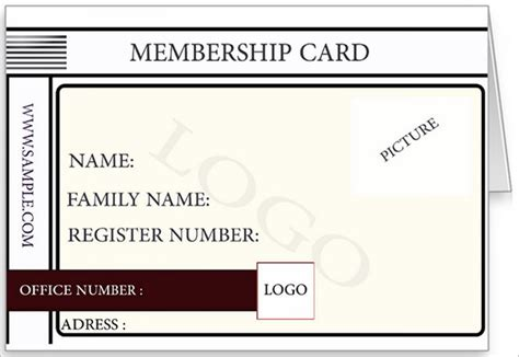 Blank Membership Card Template by Membership Card Template 23 Free Sle Exle Format
