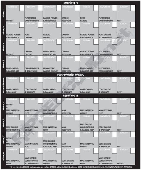 Insanity Workout Calendar Printable