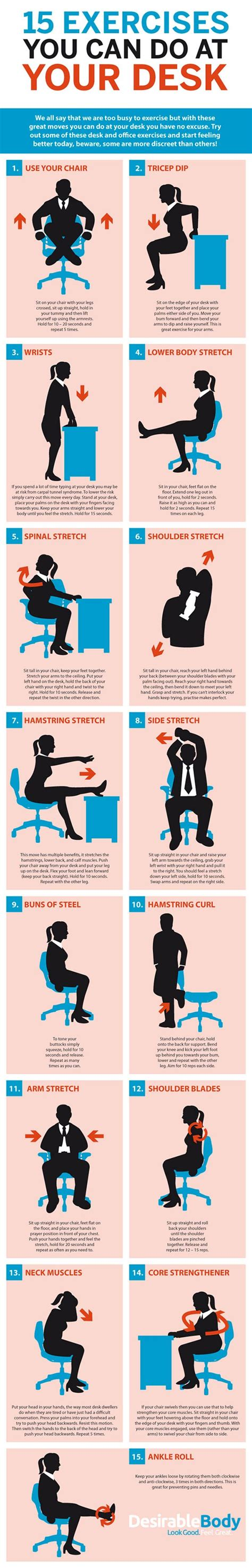 Exercises To Do At Desk by 15 Exercises You Can Do At Your Desk