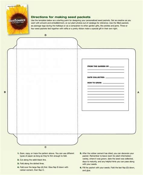 Information Packet Template Free Printable Seed Packet Template Fill With Seeds You