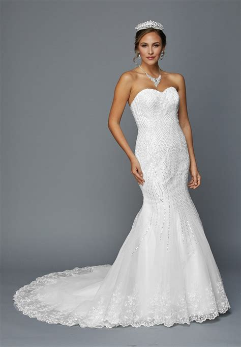 Mermaid Style Wedding Dresses by White Sequin Embellished Mermaid Style Wedding Dress