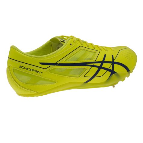 track shoes asics sonicsprint mens yellow running track field spikes