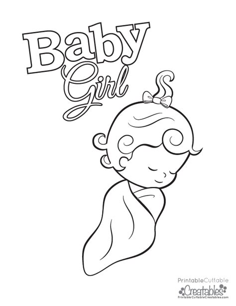 baby girl free printable coloring page
