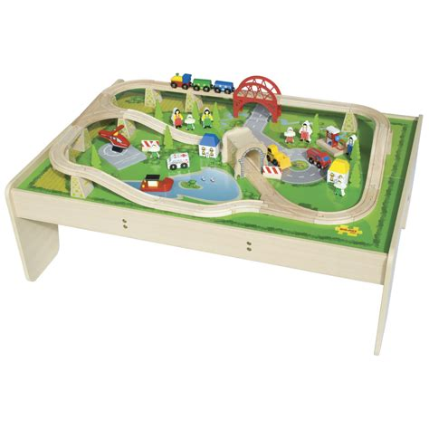 train set and table train set table wooden trains train set table