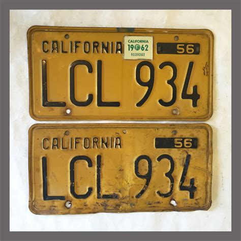 Vanity Plates For Sale by 1956 California Yom License Plates For Sale Original