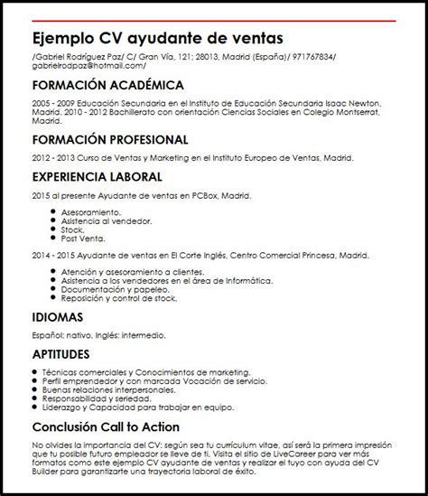 Modelo Curriculum Vitae Ventas Ejemplo Cv Ayudante De Ventas Micvideal