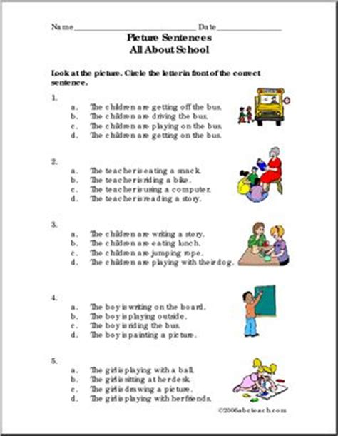 sentence patterns multiple choice sentence comprehension worksheets lesupercoin printables