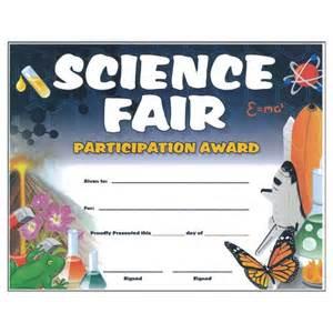 Science Fair Participation Certificate Template by Science Certificates Rocket Certificates Science