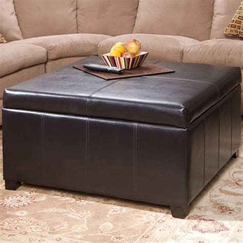 Coffee Table With Storage Ottoman Large Espresso Leather Storage Ottoman Coffee Table Ebay