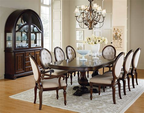 9pc dining room set carrington chestnut brown wood upholstery 9pc dining room