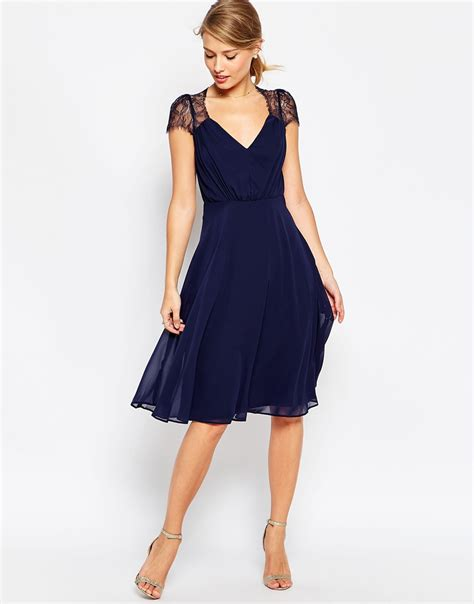 Dress Navy asos kate lace midi dress in blue navy lyst