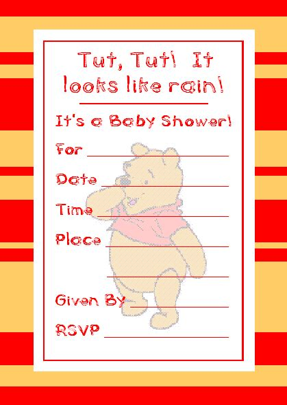 Free Printable Winnie The Pooh Baby Shower Invitations by Winnie The Pooh Baby Shower Invitation