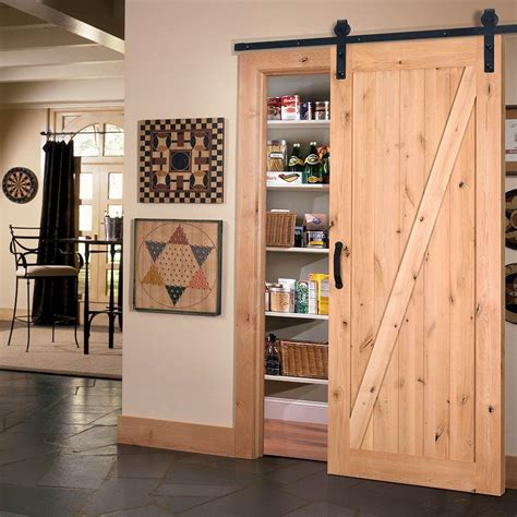 Masonite 42 In X 84 In Z Bar Knotty Alder Wood Interior Sliding Barn Doors For House