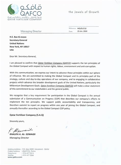 Commitment Confirmation Letter Qatar Fertiliser Company S A Q Un Global Compact