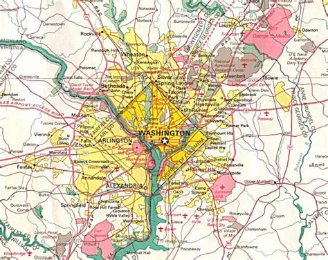 washington dc map surrounding areas detailed road map of washington d c and neighborhoods
