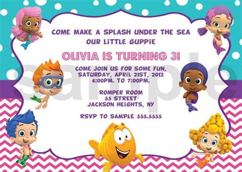 bubble guppies birthday invitation digital by