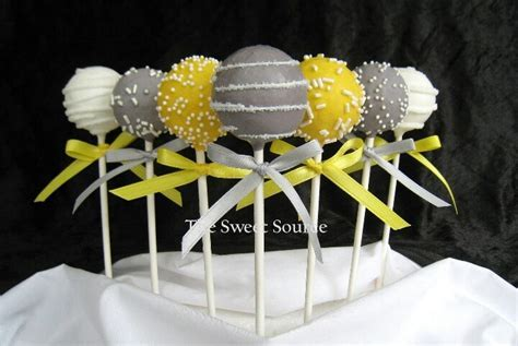 Yellow and grey cake pops. Cute for candy table   Yellow