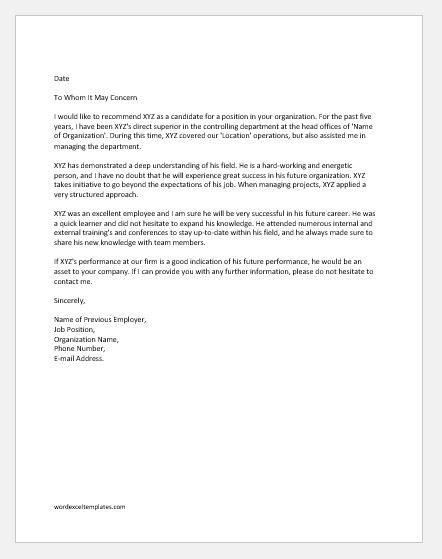 reference letter previous employer word excel
