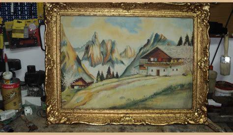 tipi di cornici per quadri quadro casa con monti innevati cornice rifatta a foglia