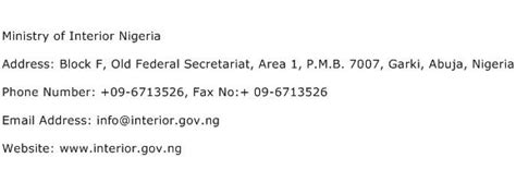 Ministry Of Interior Contact Number by Ministry Of Interior Nigeria Address Contact Number Of