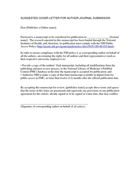 Author Cover Letter by Journal Article Cover Letter The Letter Sle