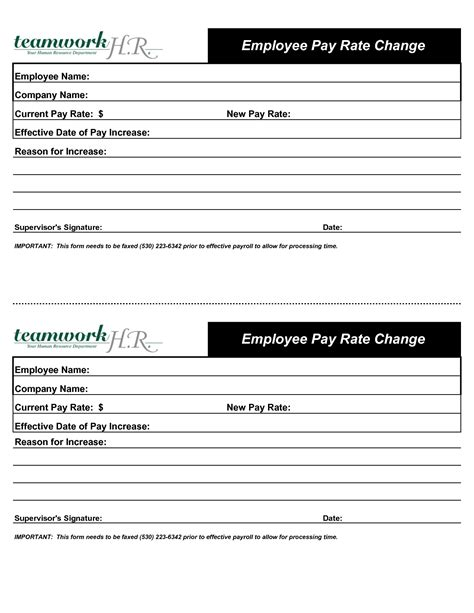 employee salary template employee pay rate change increase form designed by