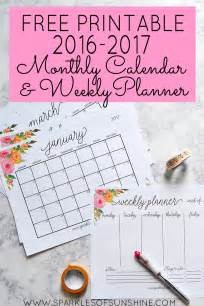 2017 calendar printable free monthly planner