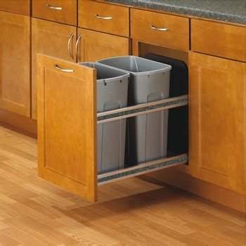 double 35 qt top mount wood pull out trash containers rev waste bin pull out kv bottom mount double 35 qt