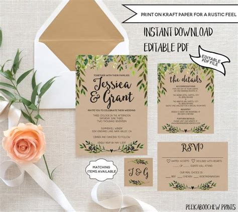 Garden Wedding Invitation Card Template by Wedding Invitation Template Set Editable Rustic Invitation