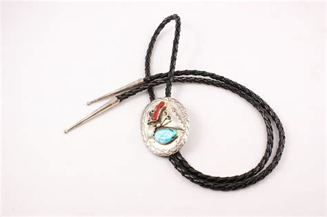 Bolo Tie Chalcedonized Coral Bt 185 Navajo Coral And Turquoise Nugget Bolo By D C