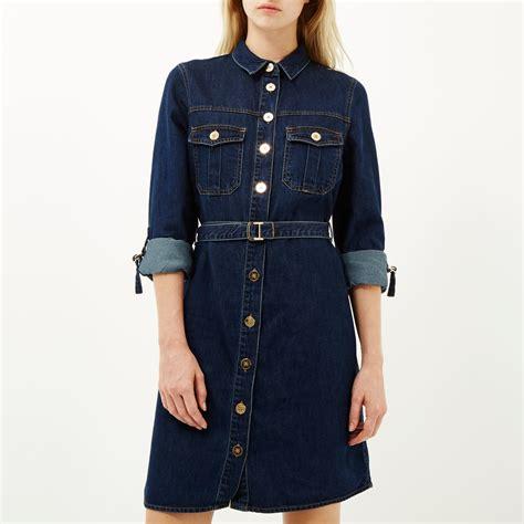Denim Black Belted Dress river island denim belted shirt dress in blue lyst