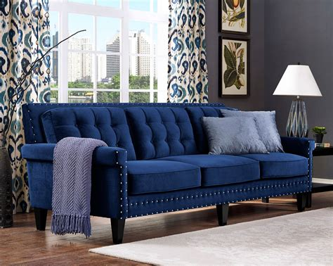 blue velvet tufted sofa furniture sophisticated velvet tufted sofa for living