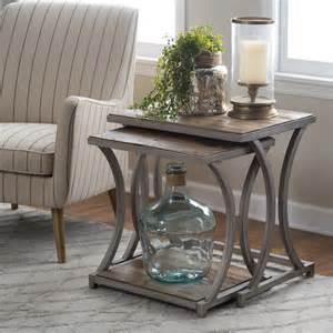 What To Put On End Tables In Living Room Belham Living Edison Reclaimed Wood Nesting Tables End Tables At Hayneedle