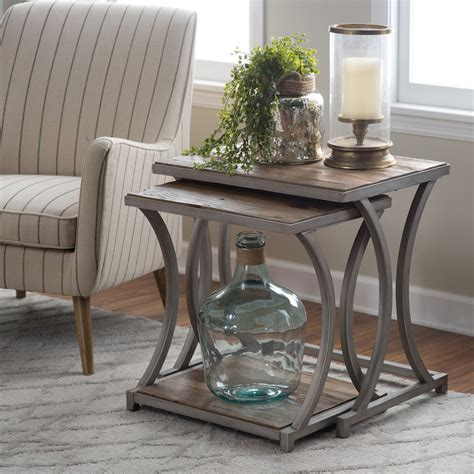 Nesting End Tables Living Room Belham Living Edison Reclaimed Wood Nesting Tables Save Space And Add Industrial Glam Style To